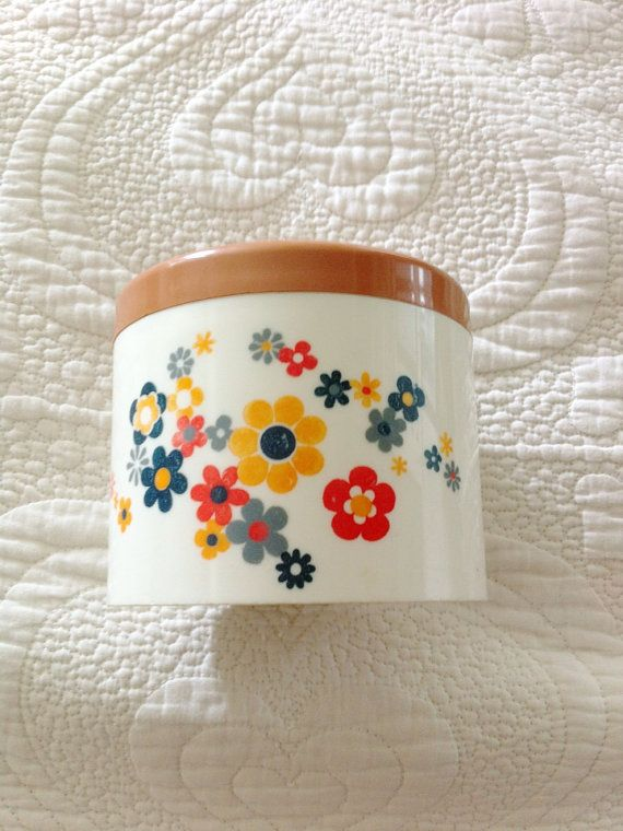 1970s Floral Mod Midcentury Bathroom Canister Pot Box £10 plus postage
