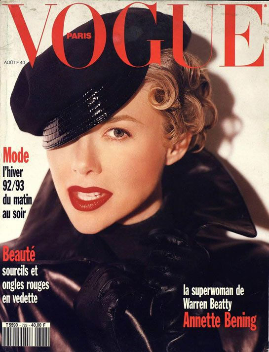 Film and the covers of Vogue Paris: Annette Bening on the August 1992 cover of Vogue Paris
