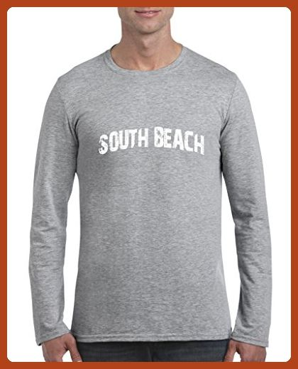 Ugo South Beach SoBe Miami Florida Map Flag Home of University of Florida UF Softsyle Long Sleeve Men's T-Shirt Tee - Cities countries flags shirts (*Partner-Link)