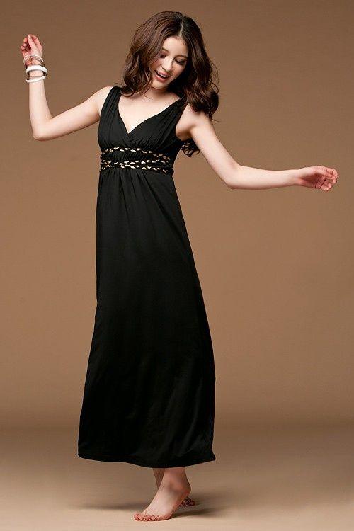 Elegant Style Sleeveless Deep V-Neck Evening Dress Black