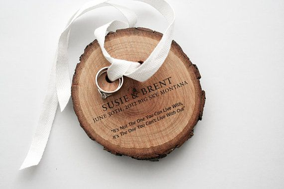 Ring Bearer from pine wood and white cotton ribbon by naneHandmade