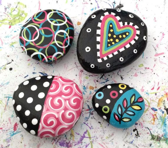 MAGNETS Hand Painted Colorful Abstract Original Painting Art Heart Swirls River Rock Stone Pebbles!