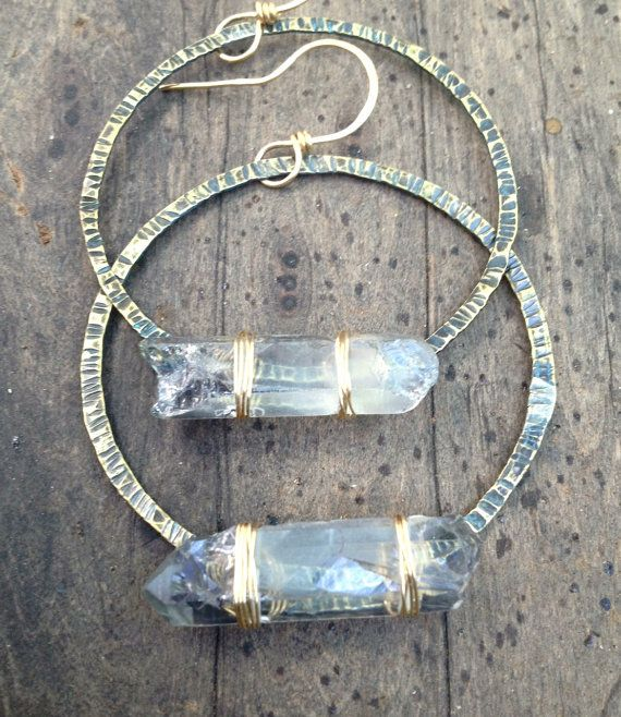 Raw Quartz Crystal Earrings Icy Blue Crystal by DeerGirlDesigns, $40.00