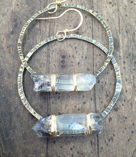 Raw Quartz Crystal Earrings Icy Blue Crystal by DeerGirlDesigns, $40.00