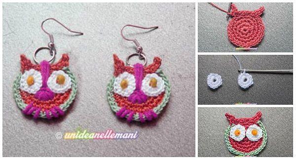 come fare orecchini gufetto a uncinetto spiegazioni. ☀CQ #crochet #owls