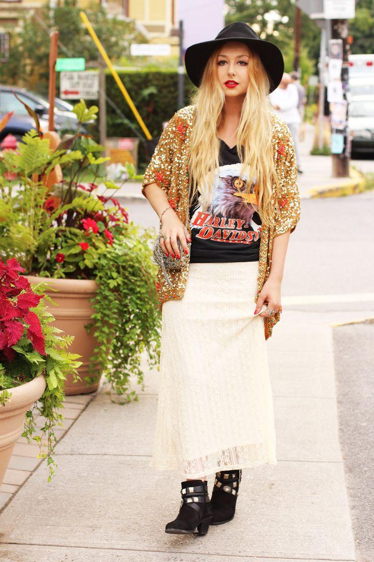 New look on www.nicolealyse.com wearing Miss Selfrige kimono and vintage Harley Davidson tee