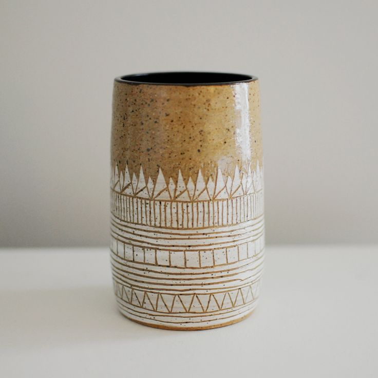 """Hand-built by Lindsey Schneider of Little Bear Pots, this generously-sized piece can be used as a drinking cup and can also double-up as a beautiful vase. Made of Stoneware clay Approx. Size: 2.5"""" dia"""