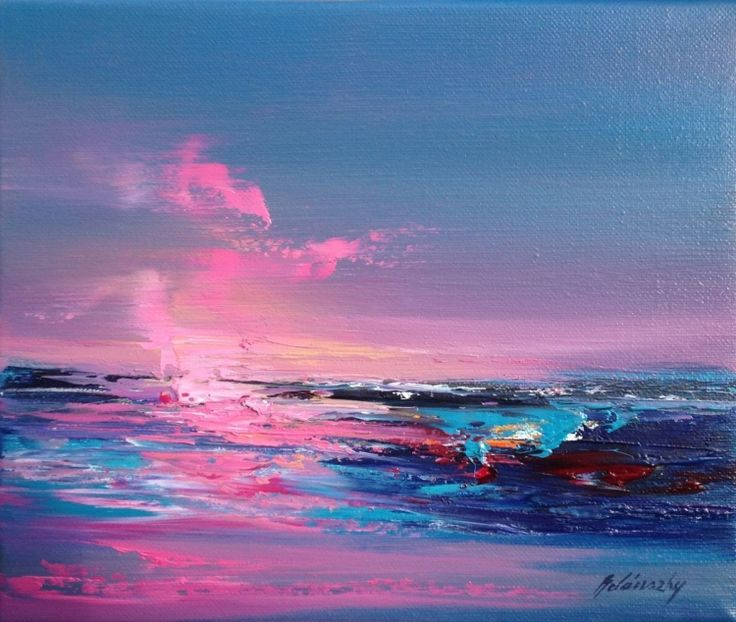 Pink Shore - 25 x 30 cm, abstract landscape oil painting, gray, purple, magenta, pink (2016) Oil painting by Beata Belanszky Demko | Artfinder