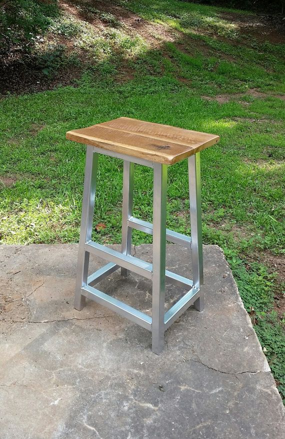 Rustic Industrial Bar Stool with Silver by RusticReproductions