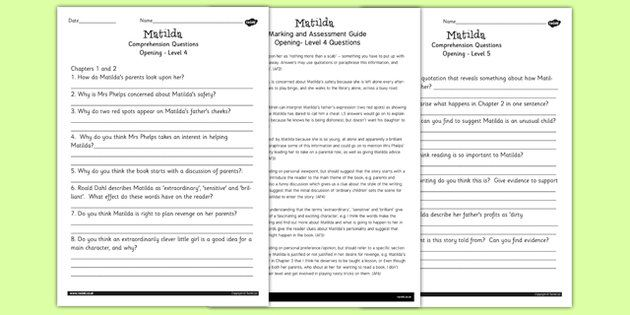 matilda levelled comprehension worksheets sumi 39 s pinterest activities comprehension and. Black Bedroom Furniture Sets. Home Design Ideas