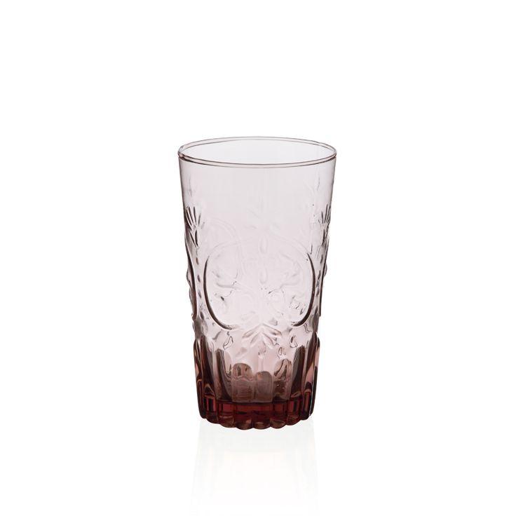 Bernardo Pembe Kabartmalı Bardak #drinking #glass #pink #tabledesign