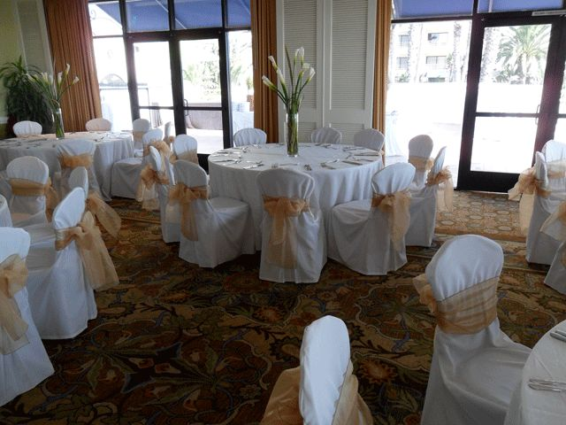 Gold Bows On White Chair Covers For Rent   Special Event Linens.