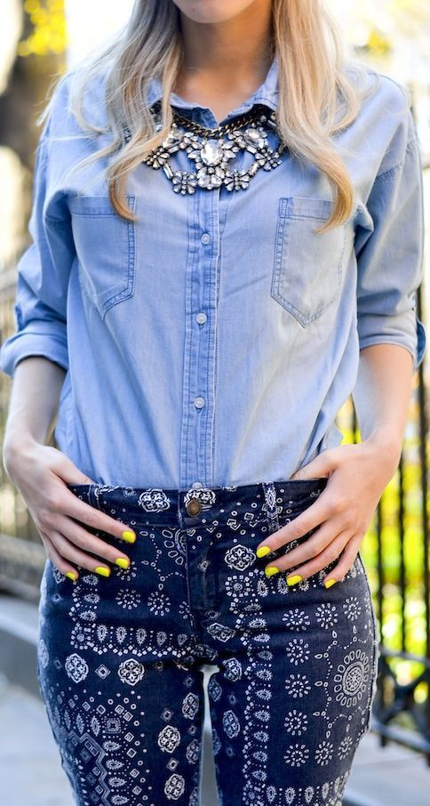 Old Navy Women Chambray Roll Sleeve Shirt by Katie's Bliss #indigos #focusonjeans®