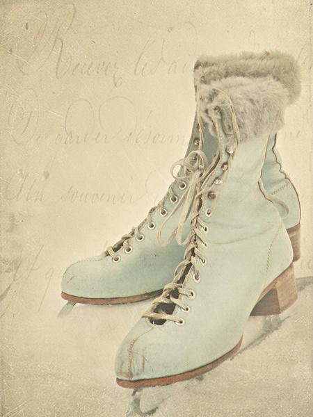 Vintage ice skates postcard