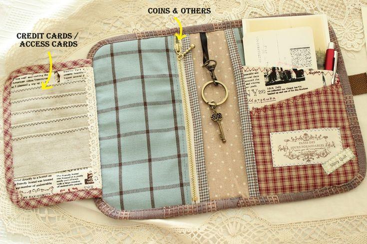 organizer tutorial, organizer, travel purse, handmade purse, coin purse, fabric button, pattern, passport holder, card holder, passport cover, boarding pass, rose pink, Victorian style, travel book