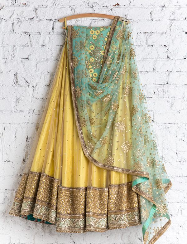 yellow gold turquoise mint lehenga