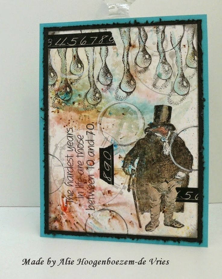 Stamped card, coloured with Bistre - Bister, made by Alie Hoogenboezem-de Vries