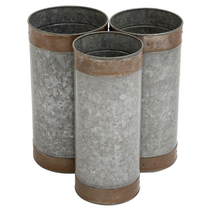 DecMode Galvanized Metal Cylinder Planters - Set of 3