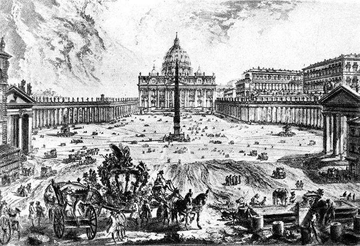 Giovanni Battista Piranesi, Vedute di Roma: Piazza S.Pietro, 1748-74, incisione, pubblicata per la prima volta a Roma.