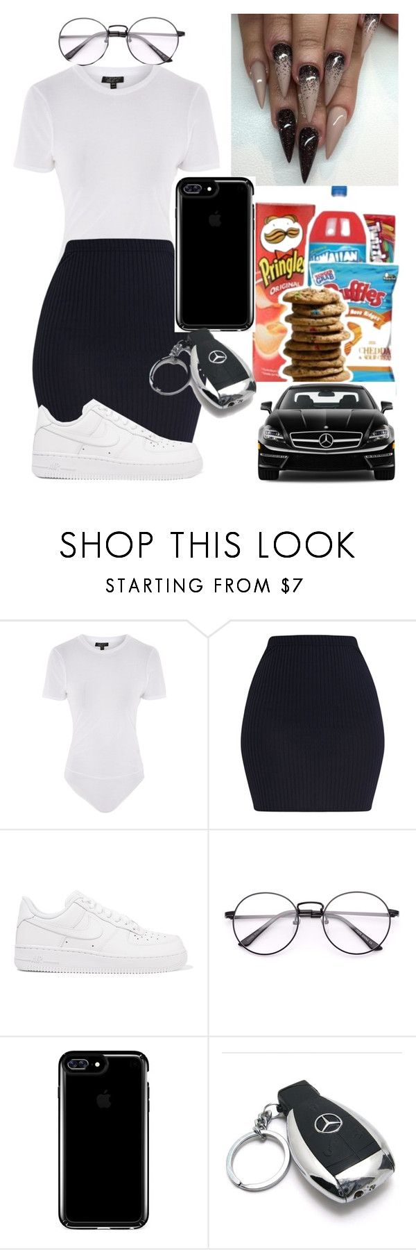 """Ready to go"" by marleymal ❤ liked on Polyvore featuring Topshop, NIKE, Speck and Mercedes-Benz"