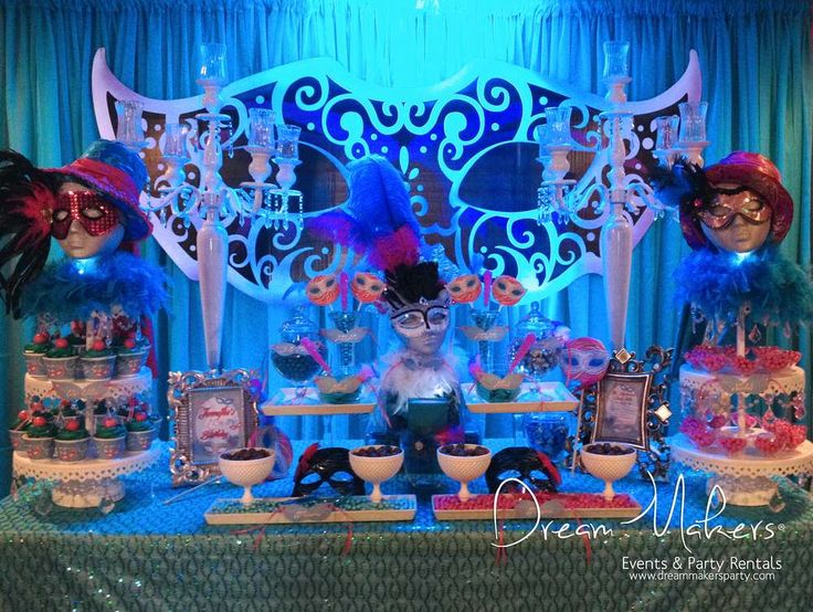 Striking dessert table at a Masquerade Quincenera party! See more party planning ideas at CatchMyParty.com!