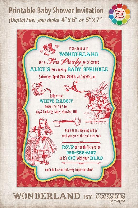 244 best alice in wonderland baby shower ideas images on pinterest, Baby shower invitations