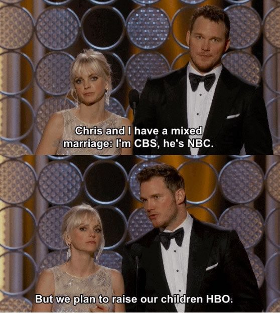 They were pretty much the best part of the Golden Globes. | 25 Times Chris Pratt And Anna Faris Proved Love Is Real In 2015