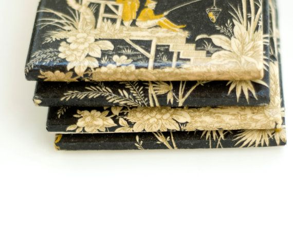 Asian Coasters Black Yellow and Gold Ceramic Tile by Tilissimo