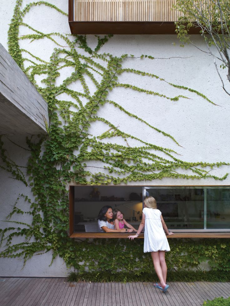 In São Paulo, Reinaldo and Piti Cóser kept green in mind when designing their deck. Here, Sophia Cóser talks to sister Helena and mother Piti through a wide, low-slung window typical of architect Marcio Kogan.