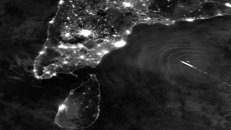 Nighttime image of southern India and Tropical Cyclone Mahasen: India From Space: Incredible Photos Of Our Country From Above