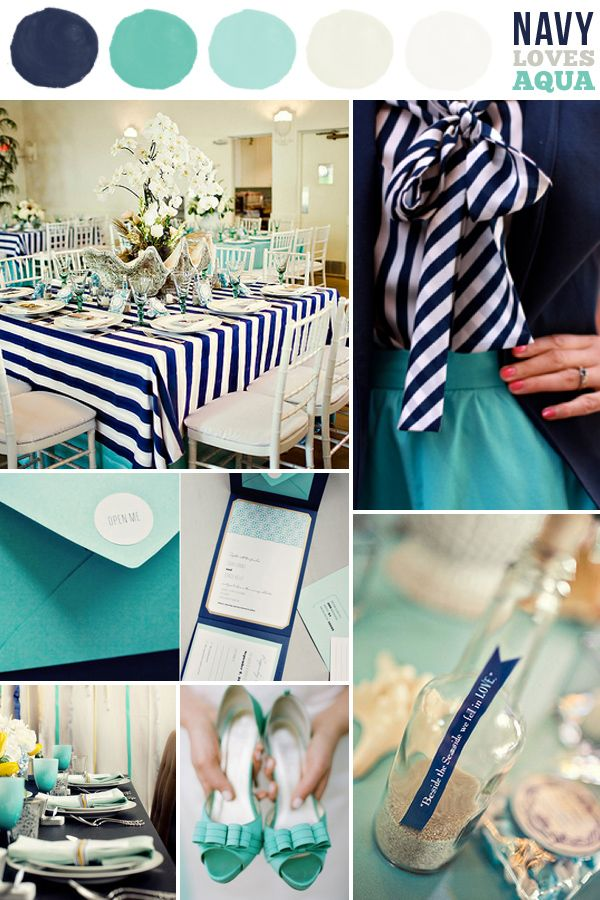 navy + aqua = great combination. Love the stripe detail.