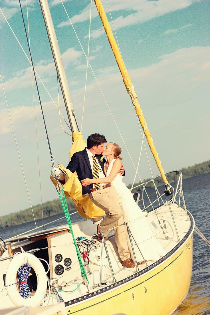 Sunny Boat Happy Couple Preppy Wedding Nautical Wedding Theme Nautical Wedding