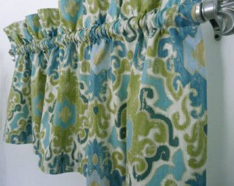 Modern Green Blue Damask Valance for Kitchen, Living or Office, Seagrass Curtain Window Treatment, Aqua Curtain Blue Turquoise Green Valance