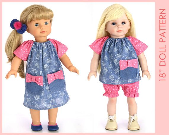 DRESS girl doll clothes pattern 18 inch doll clothes sewing
