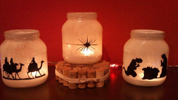 Reyes magos ,  pesebre... Navidad todo reciclando frascos de vidrio