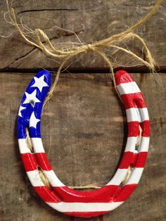 Vintage Horse Shoe with American Flag painted on it. by CharmedUwillB on Etsy