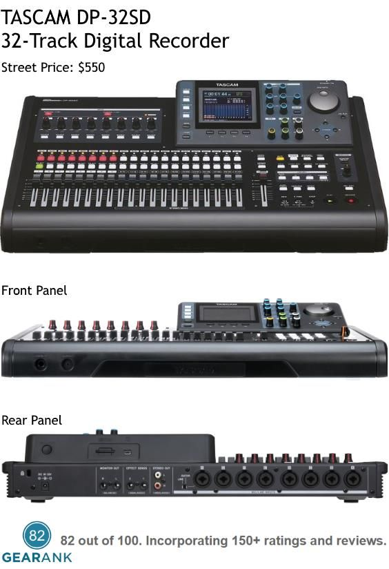 TASCAM DP-32SD 32-Track Portastudio Digital Recorder. It records on 8 tracks simultaneously and can mix 32 tracks simultaneously - it also gives you 8 virtual tracks for each of the 32 tracks. Street Price: $550. For a detailed guide to Multitrack Recorders see https://www.gearank.com/guides/best-multitrack-recorder