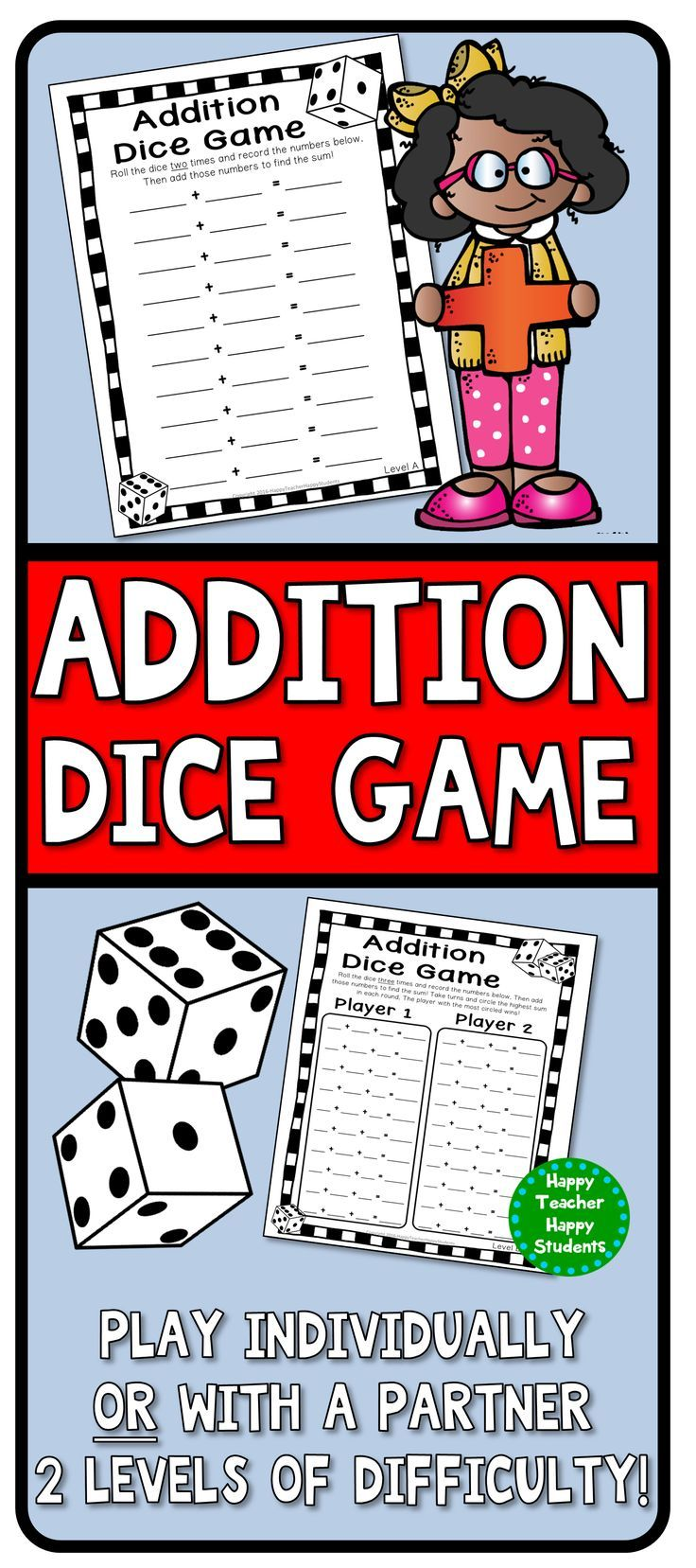 Addition Dice Game: 4 Versions  Addition Game Printable