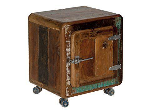 """Sit-Möbel 2659-98 mesilla """"nevera"""", 50 x 38 x 56 cm, auténtica madera vieja, con nevera asas de metal ruedas, rojo - http://vivahogar.net/oferta/sit-mobel-2659-98-mesilla-nevera-50-x-38-x-56-cm-autentica-madera-vieja-con-nevera-asas-de-metal-ruedas-rojo/ -"""