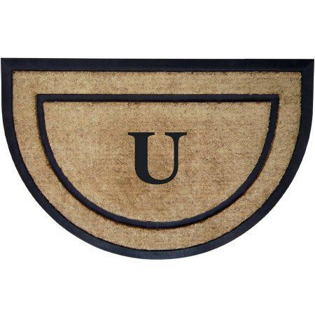 Inspired Accents Coir/Rubber Frame Mat, Monogrammed Half Round, Multicolor
