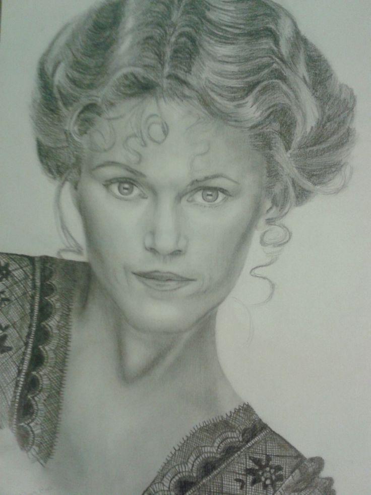 Retrato de Jane Fonda a lapicero. Realizado por Alicia Ruiz