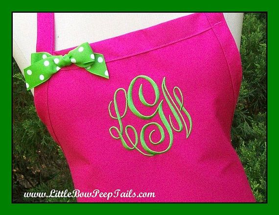 Hot Pink Gourmet Monogrammed Apron - Personalized Chefs Gift Idea Lime Green White Ribbon Bakers Unisex Womens Wedding Bridal bridemaids on Etsy, $24.95