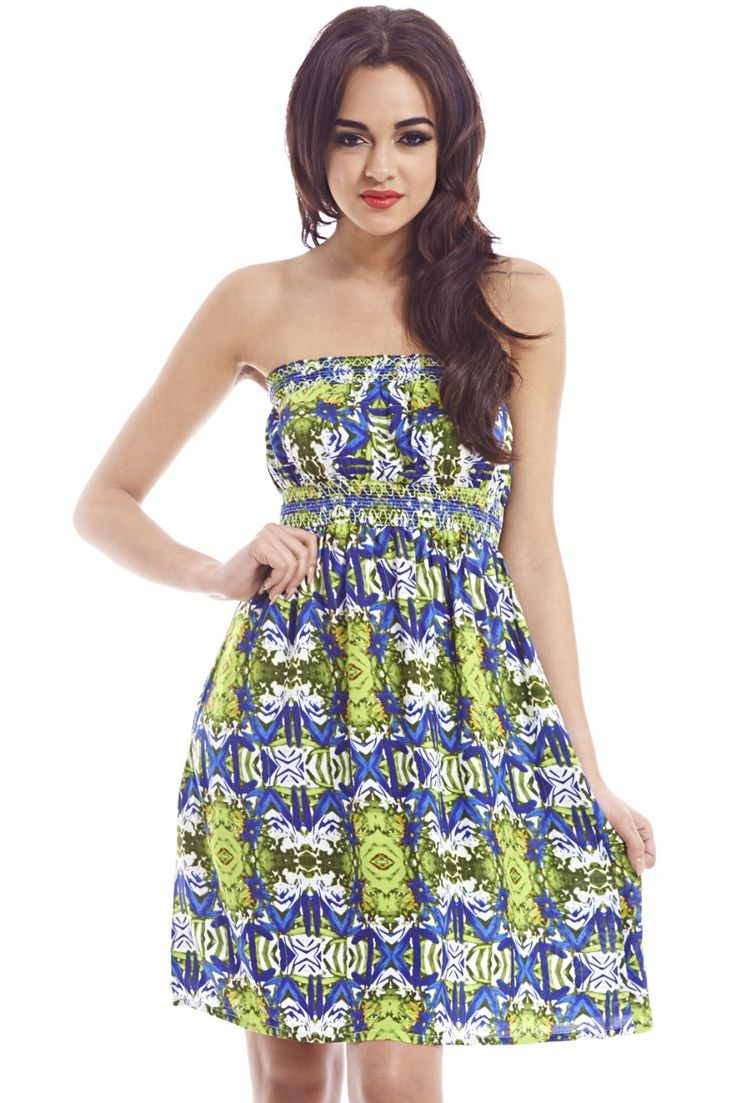buymadesimple.com: Printed  Strapless Short Summer Dress