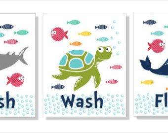 Items Similar To Shark, Whale And Fish Bathroom Wall Art, Typography, Bathroom  Decor  Set Of Three Prints On Etsy