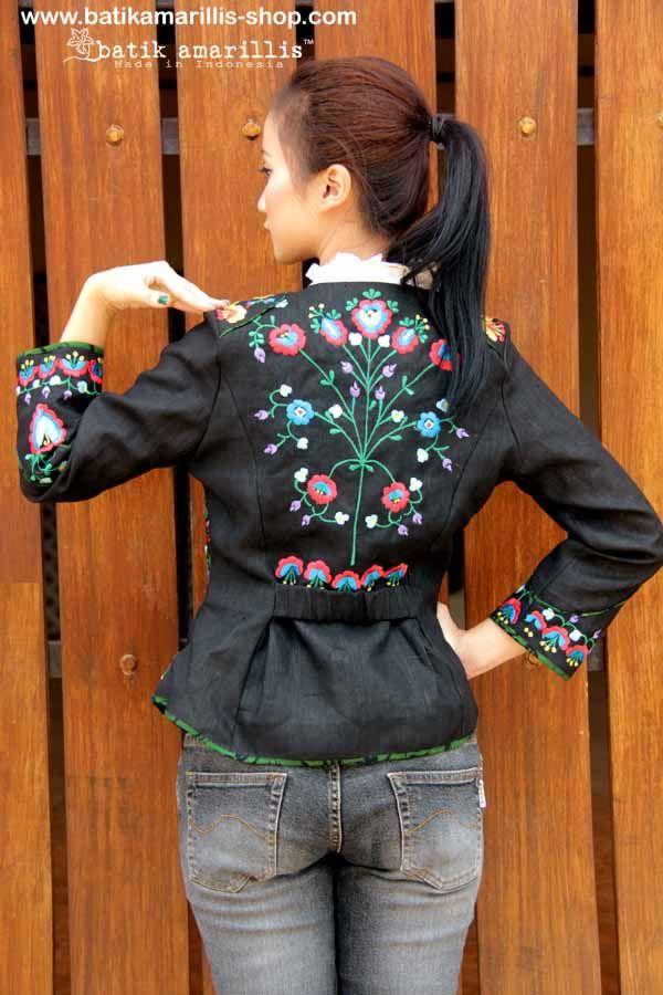 Batik Amarillis Made in Indonesia proudly presents ... Batik Amarillis's Waterloo Jacket .. elegant, Romantic and stylish military inspired clothing with beautiful & colorful  hungarian  embroidery and Batik gedog of Indonesia piping.
