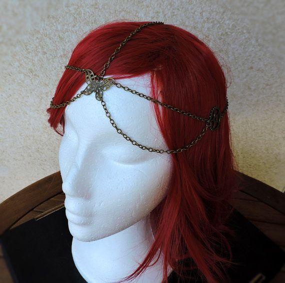 Tocado cadena bronce, Joyería para el pelo, Tocado steampunk, Tocado cadena mariposa, Tocado cadena para el pelo,Tiara cadena,Diadema cadena