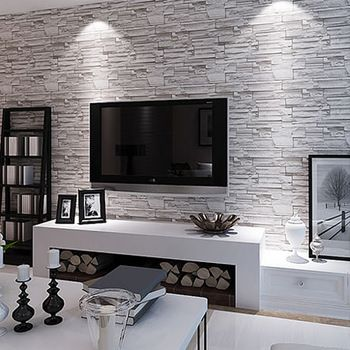 Modern Brief Brick Wallpaper Waterproof Pvc Living Room Tv Wall 3d