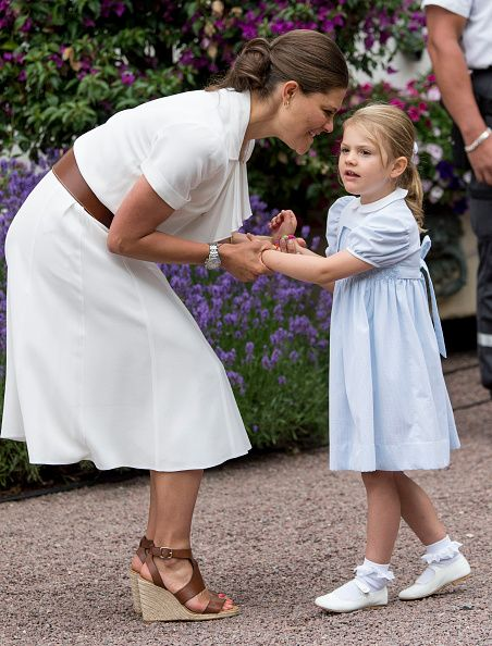 Crown Princess Victoria of Sweden and Princess Estelle of Sweden at the 39th birthday celebrations for Crown Princess Victoria at Solliden on July 14...