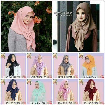 Jilbab instan /Hijab Instan Meyka diamond crepe,Hijab/Jilbab Instan Meyka  Jilbab instan non-pad 1x slup, dengan variasi pita besar bagian depan jilbab. Praktis dan cantik dikenakan sehari-hari. WA +6289681170896