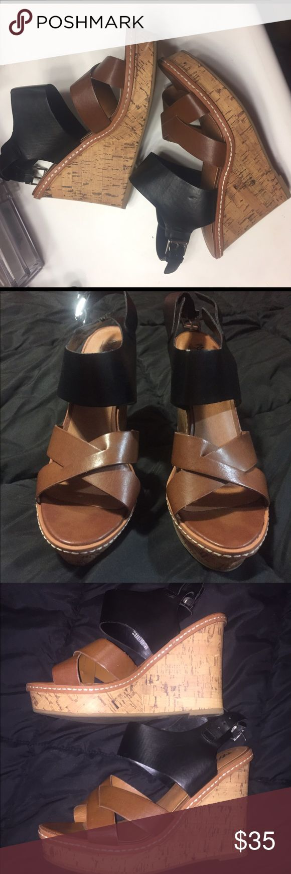 Black and brown summer wedges Black and brown fun summery wedges! Perfect addition to summer dress or a summer outfit! Size 8.5 Mossimo Supply Co Shoes Wedges